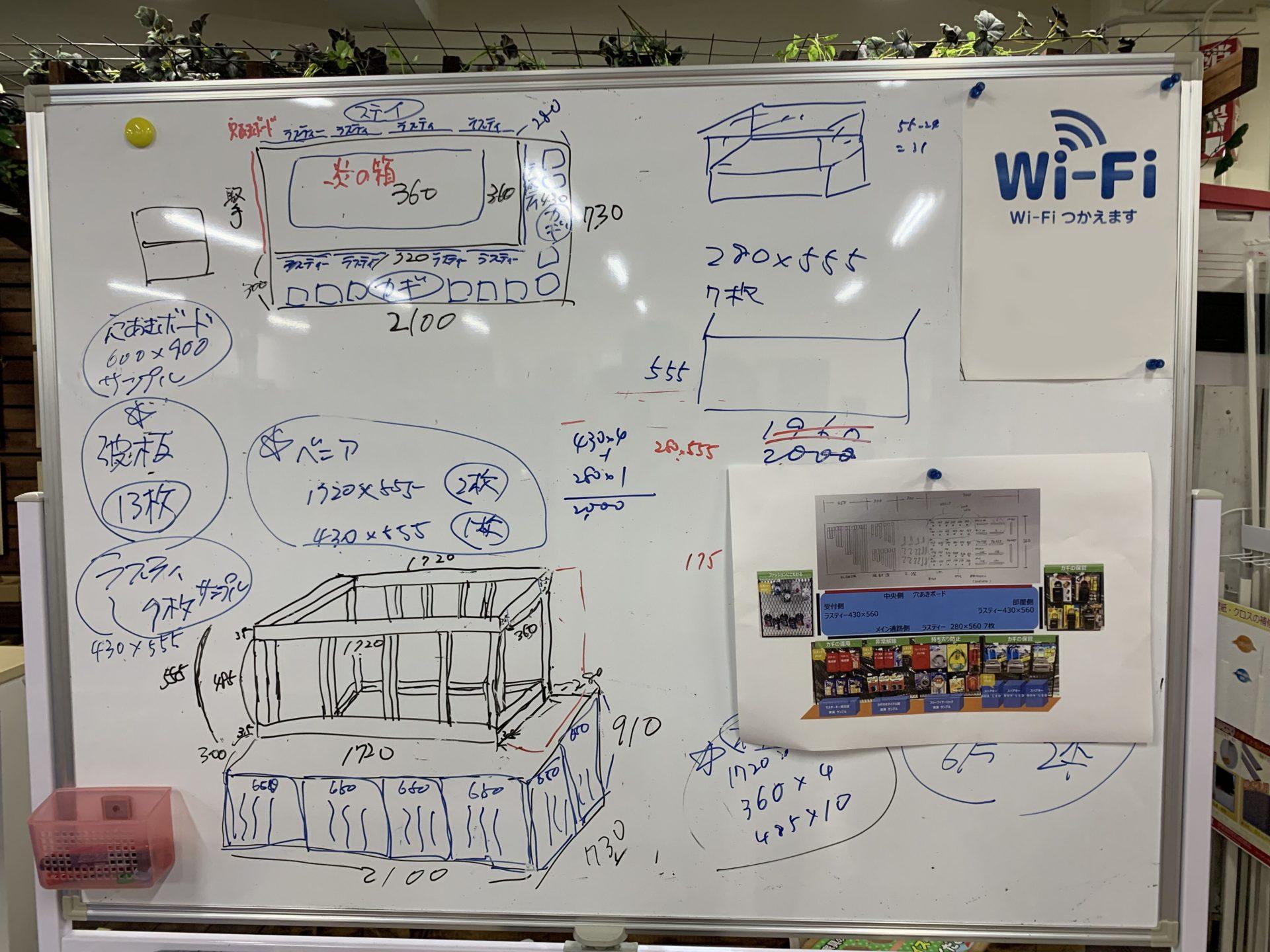 設計図を書いたホワイトボード