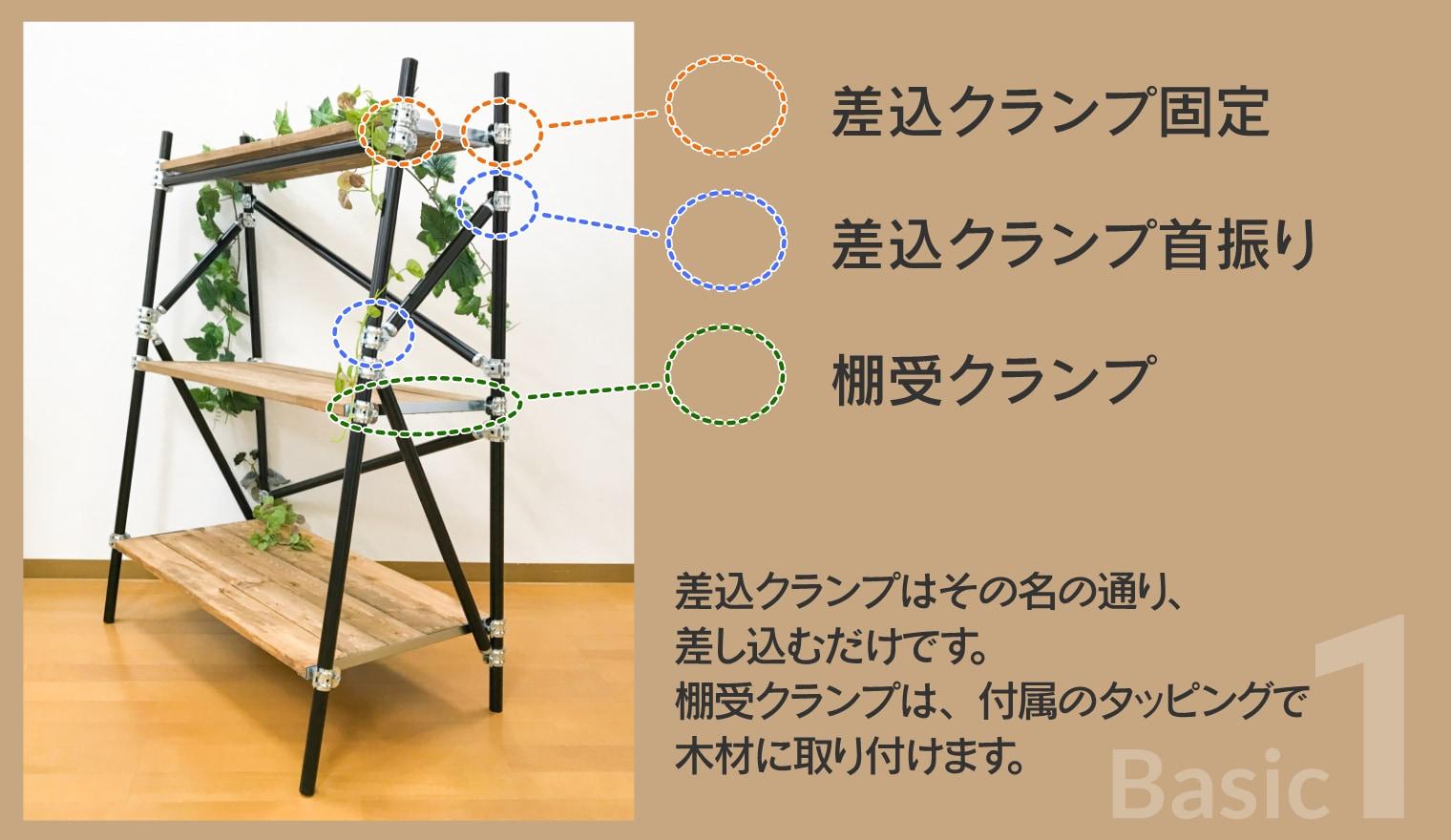 アリスト基本1 (差し込みクランプ固定・差し込みクランプ首振り・棚受クランプ)差し込みクランプはその名の通り、差し込むだけです。棚受クランプは、付属のタッピングで木材に取り付けます。