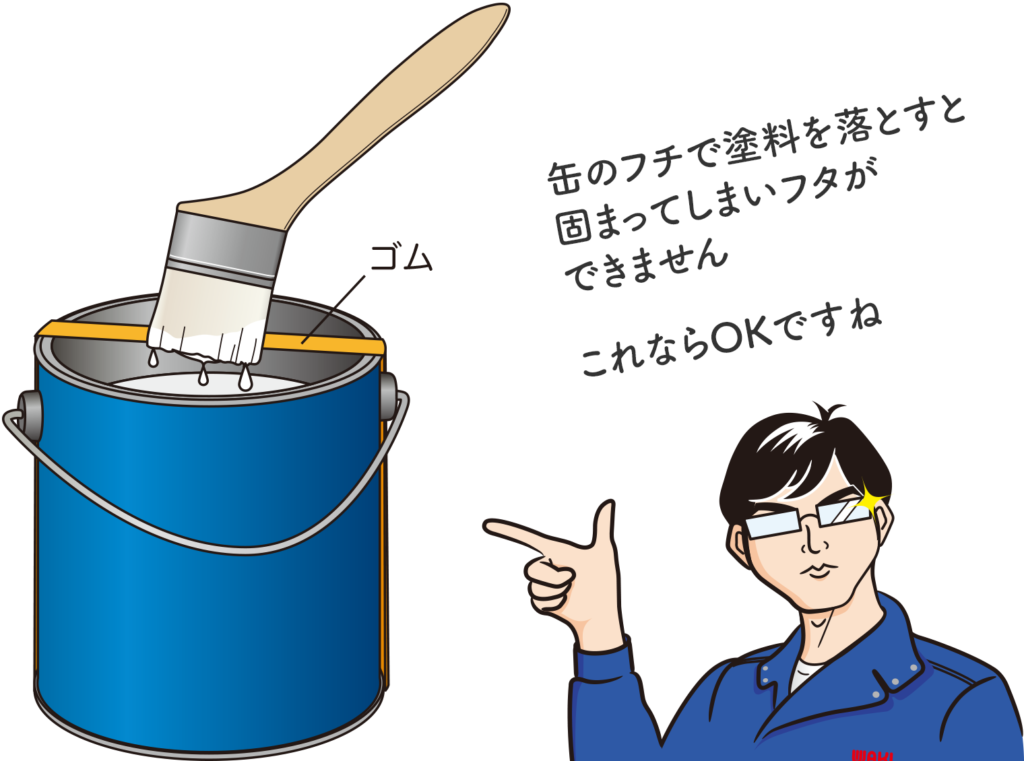 缶に輪ゴムをかけて塗料を落としているイラストと「缶のフチで塗料を落とすと固まってしまいフタができません。これならOKですね」とMr.DIYが言っている