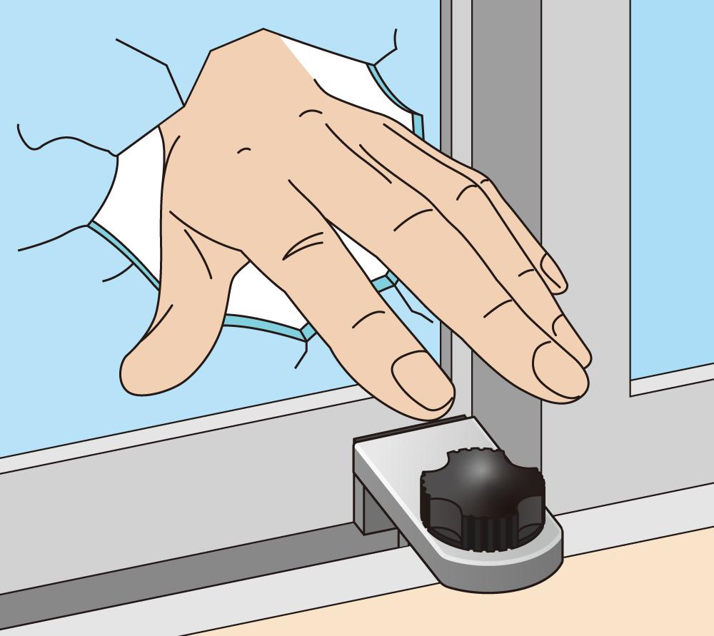 補助錠のおかげでクレセントが空いても侵入できないが、再度窓を割られると補助錠を外して侵入されてしまう