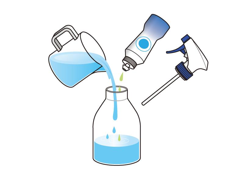 水200ccに中性洗剤2~3滴を入れ、水溶液を作る