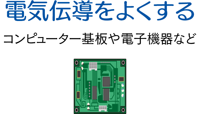 電気伝導をよくする コンピューター基板や電子機器など