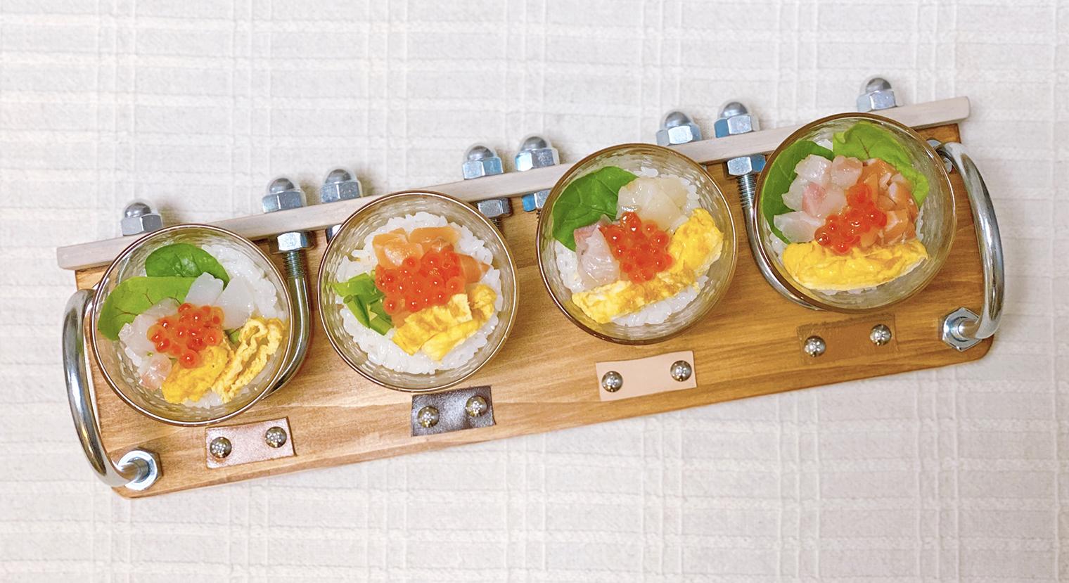 飲み比べトレイにちらし寿司