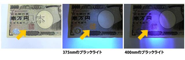 お札の偽造はブラックライトの波長を変えて厳重チェック